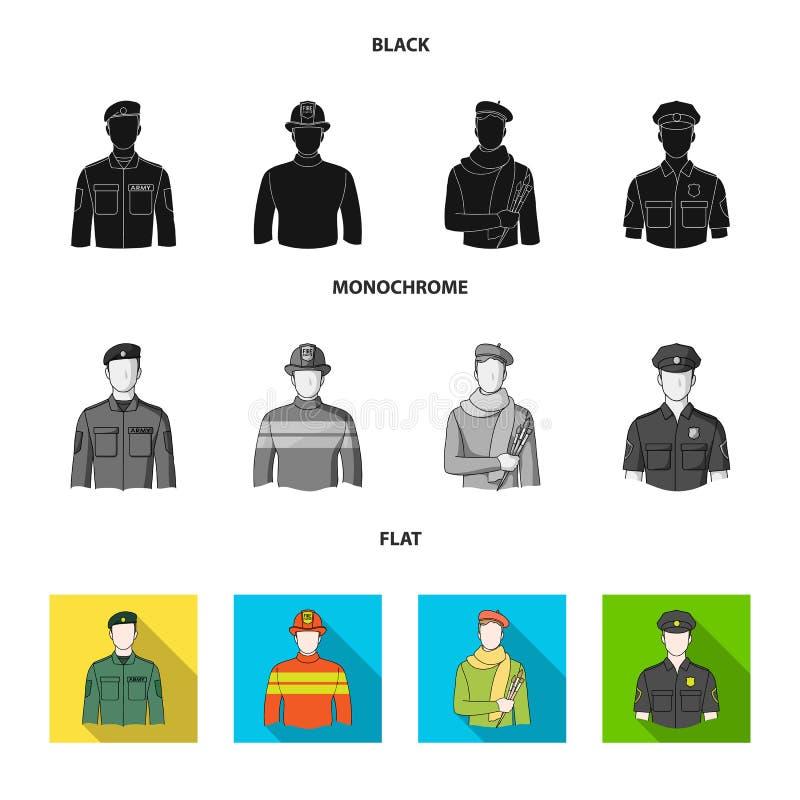 Militär brandman, konstnär, polis Fastställda samlingssymboler för yrke i svart, lägenhet, monokromt stilvektorsymbol stock illustrationer