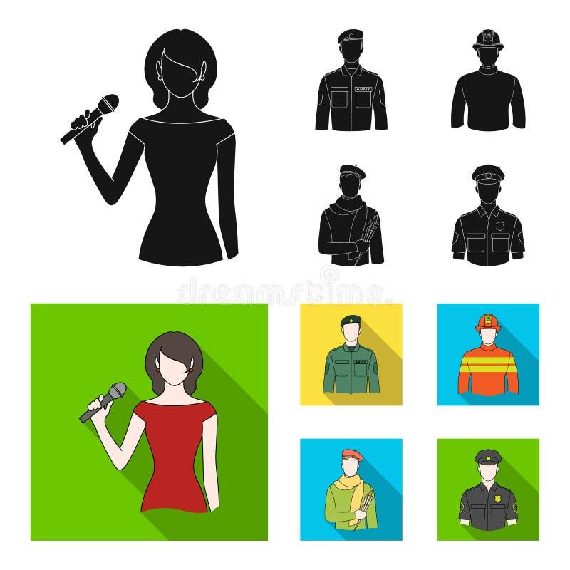 Militär brandman, konstnär, polis Fastställda samlingssymboler för yrke i svart, materiel för symbol för lägenhetstilvektor vektor illustrationer