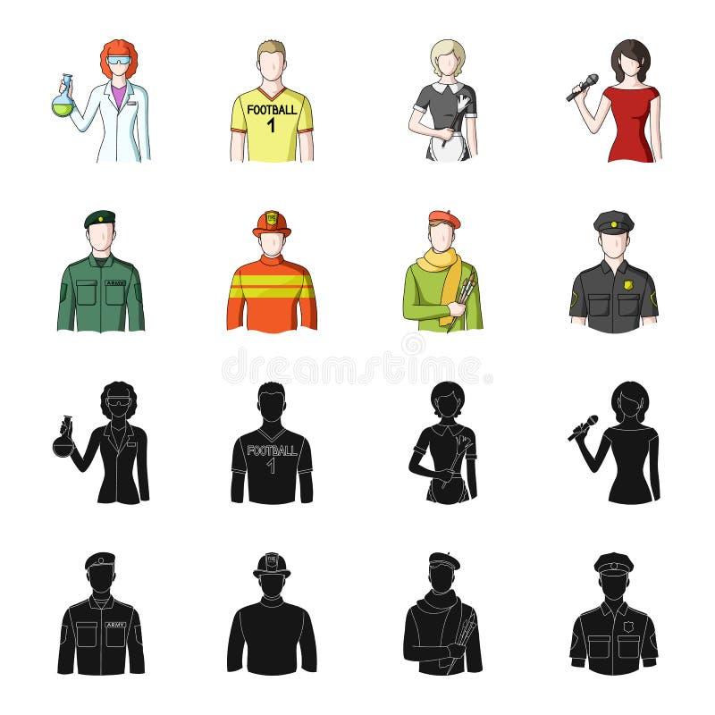 Militär brandman, konstnär, polis Fastställda samlingssymboler för yrke i svart, materiel för symbol för tecknad filmstilvektor royaltyfri illustrationer