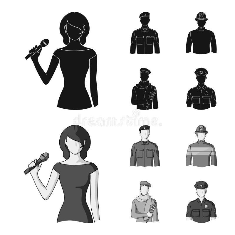 Militär brandman, konstnär, polis Fastställda samlingssymboler för yrke i svart, monokromt materiel för stilvektorsymbol royaltyfri illustrationer