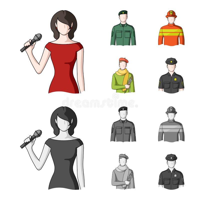 Militär brandman, konstnär, polis Fastställda samlingssymboler för yrke i tecknade filmen, monokromt materiel för stilvektorsymbo royaltyfri illustrationer