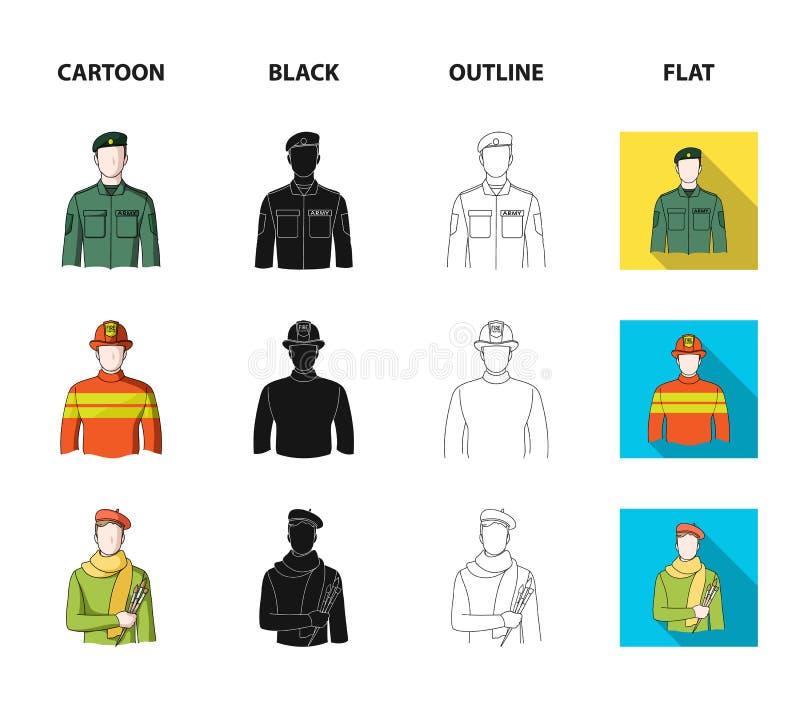 Militär brandman, konstnär, polis Fastställda samlingssymboler för yrke i tecknade filmen, svart, översikt, symbol för lägenhetst stock illustrationer