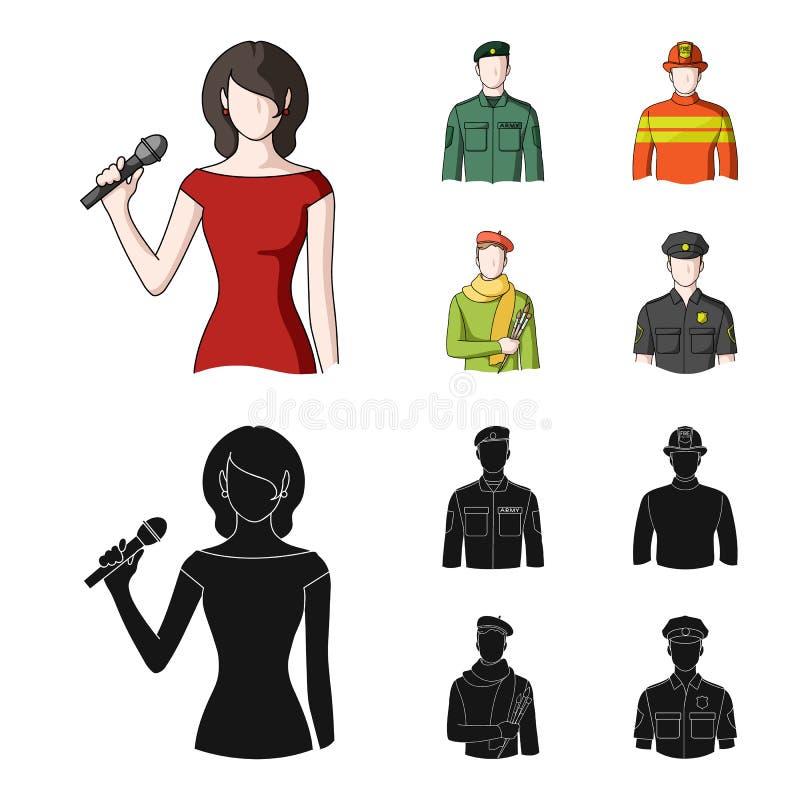 Militär brandman, konstnär, polis Fastställda samlingssymboler för yrke i tecknade filmen, svart materiel för stilvektorsymbol stock illustrationer
