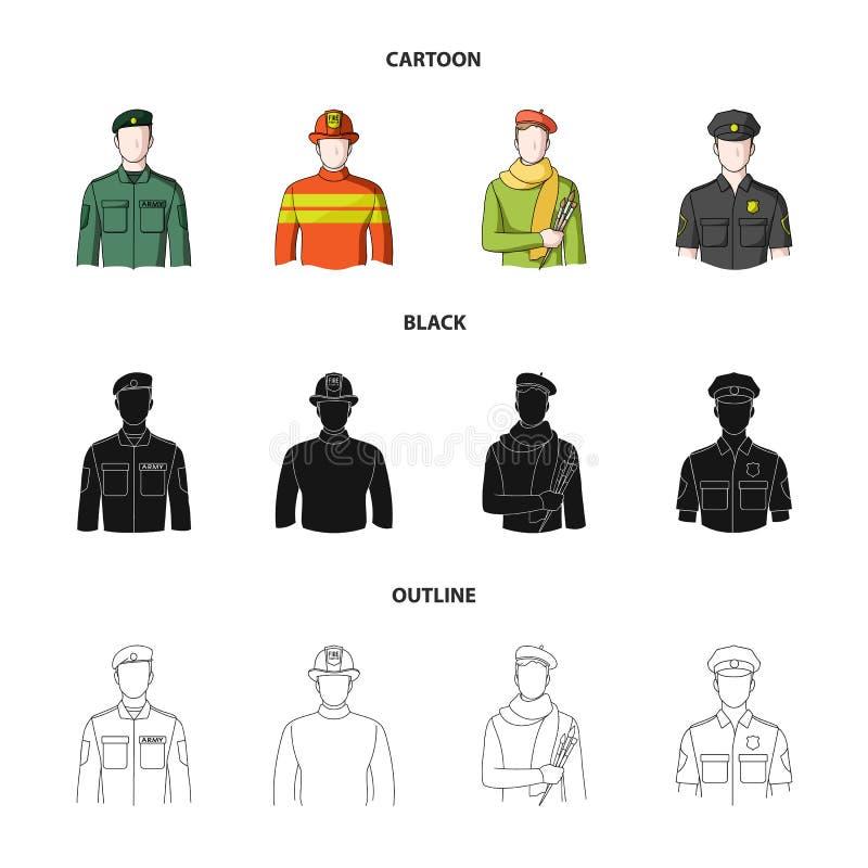 Militär brandman, konstnär, polis Fastställda samlingssymboler för yrke i tecknade filmen, svart, materiel för symbol för översik vektor illustrationer