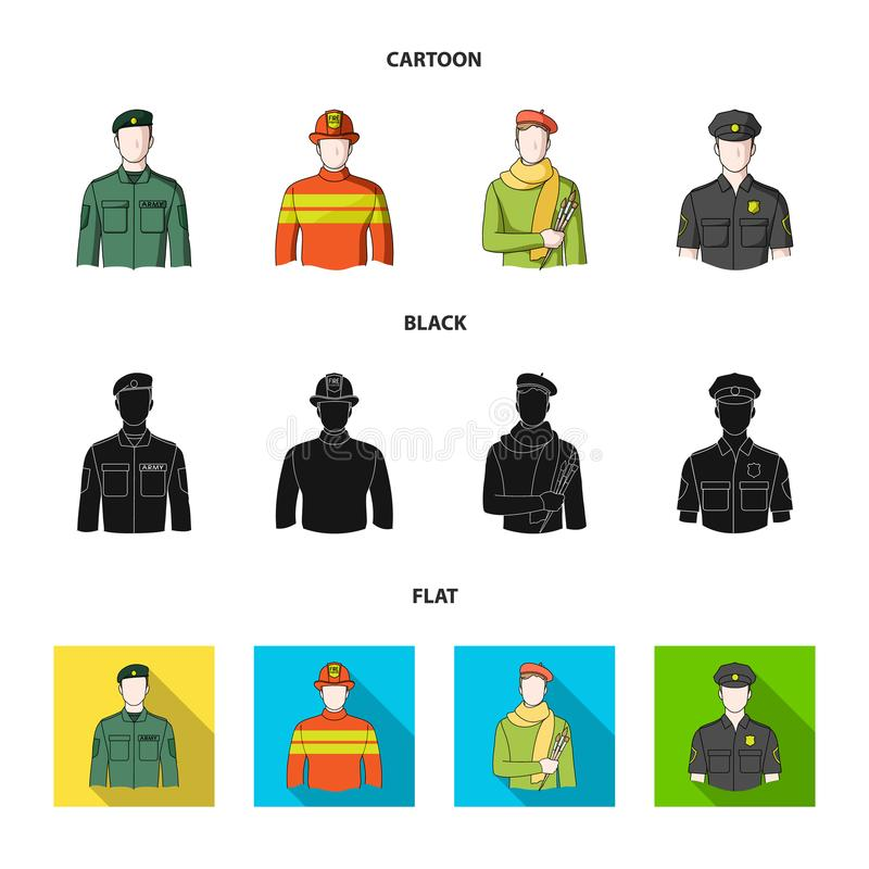 Militär brandman, konstnär, polis Fastställda samlingssymboler för yrke i tecknade filmen, svart, materiel för symbol för lägenhe vektor illustrationer