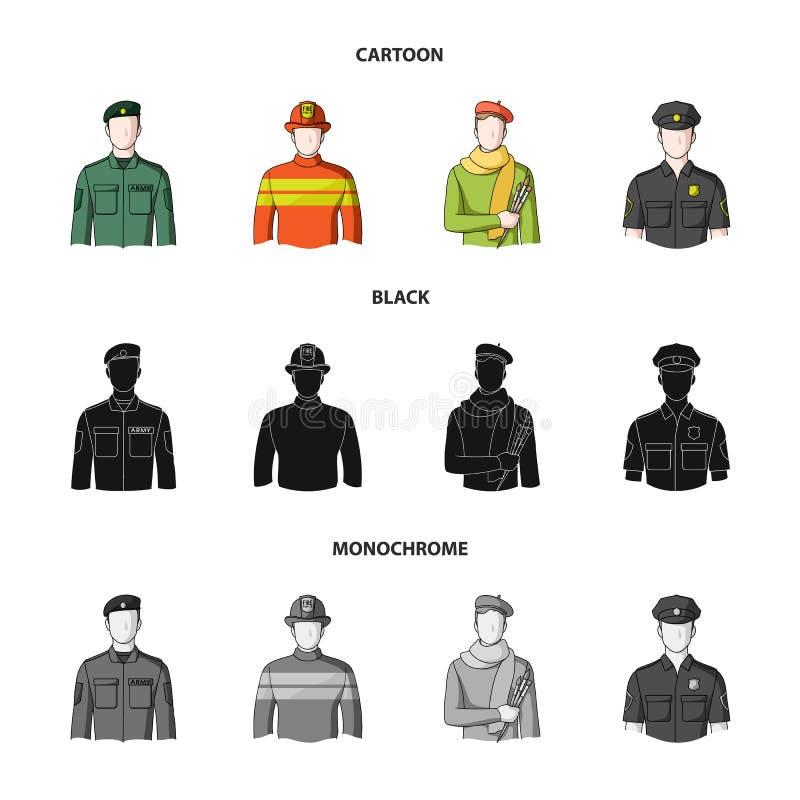 Militär brandman, konstnär, polis Fastställda samlingssymboler för yrke i tecknade filmen, svart, monokromt stilvektorsymbol vektor illustrationer