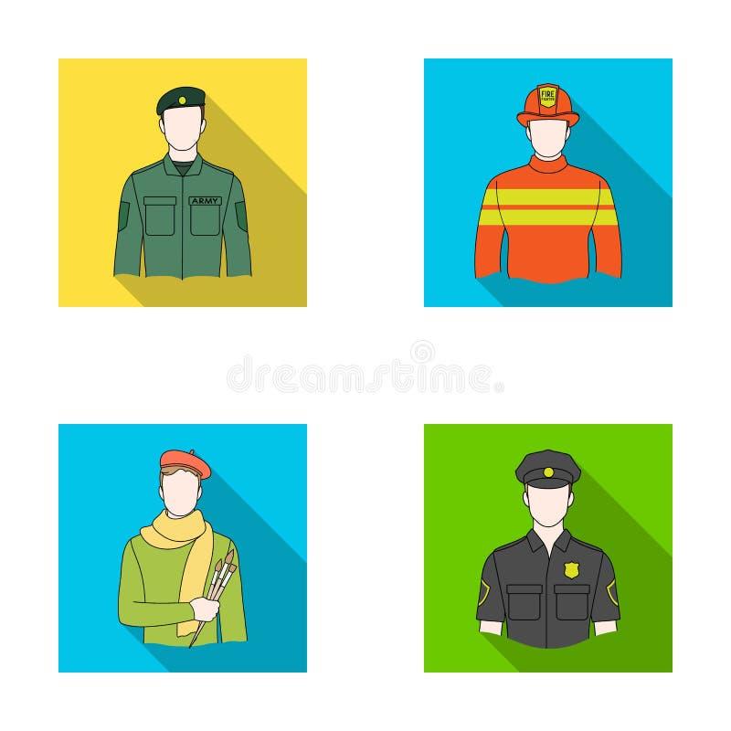 Militär brandman, konstnär, polis Lagerför fastställda samlingssymboler för yrke i plant stilvektorsymbol illustrationrengöringsd vektor illustrationer