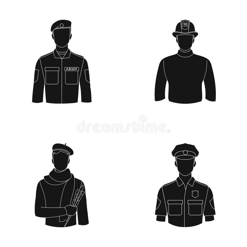 Militär brandman, konstnär, polis Lagerför fastställda samlingssymboler för yrke i svart stilvektorsymbol illustrationrengöringsd vektor illustrationer
