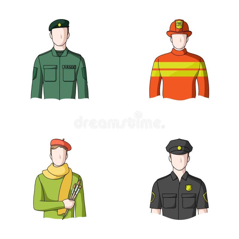 Militär brandman, konstnär, polis Lagerför fastställda samlingssymboler för yrke i symbol för tecknad filmstilvektor illustration vektor illustrationer