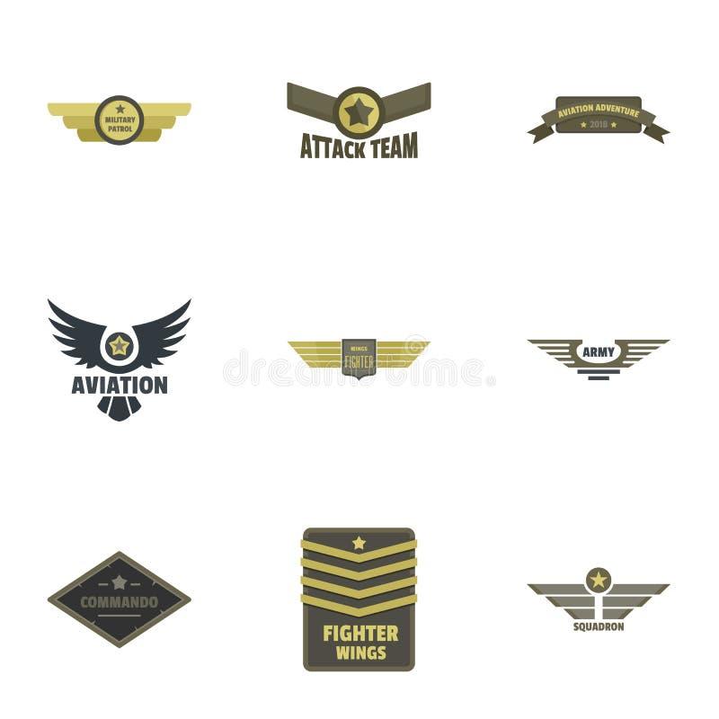 Militär emblemsymbolsuppsättning, lägenhetstil stock illustrationer