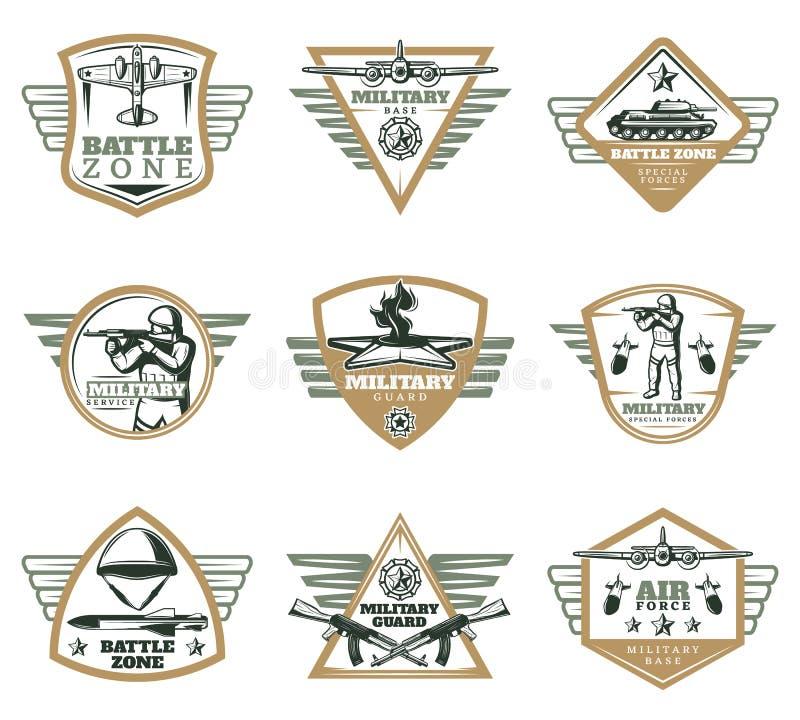 Militär emblemuppsättning för kulör tappning stock illustrationer