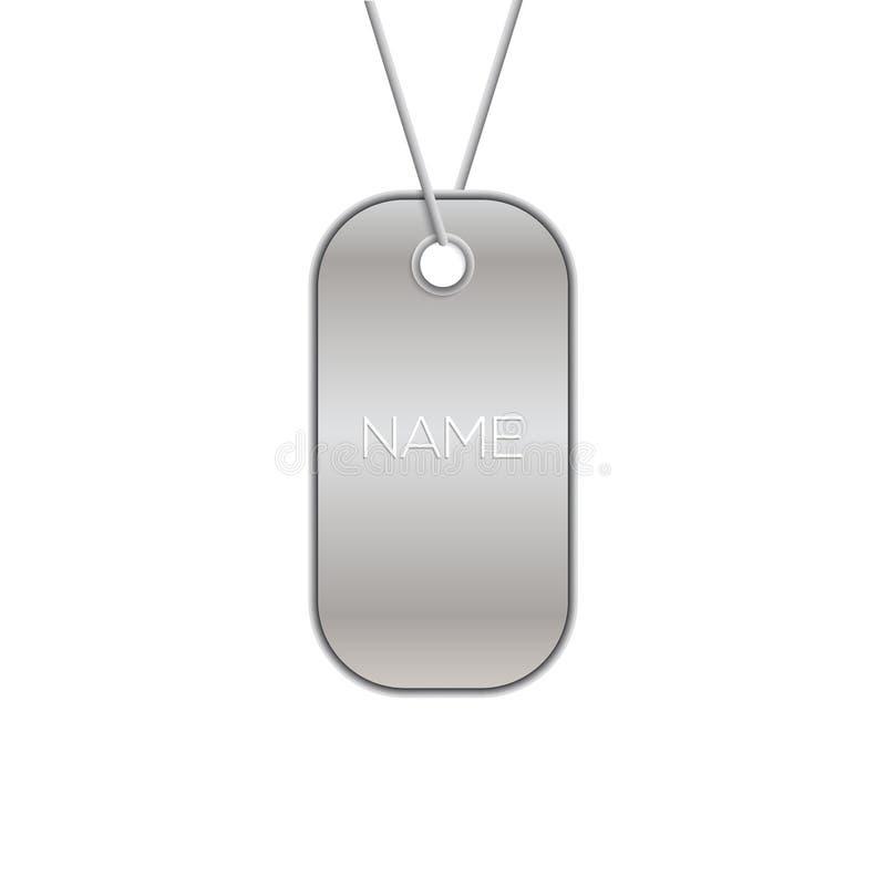 Militär etikett på vitt, illustration för vektorarmékedja Belägga med metall tecknet för soldaten eller för hunden för halsband f royaltyfri illustrationer