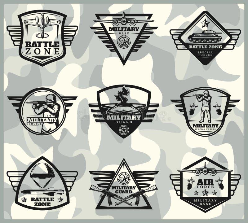 Militär etikettuppsättning för svart tappning stock illustrationer