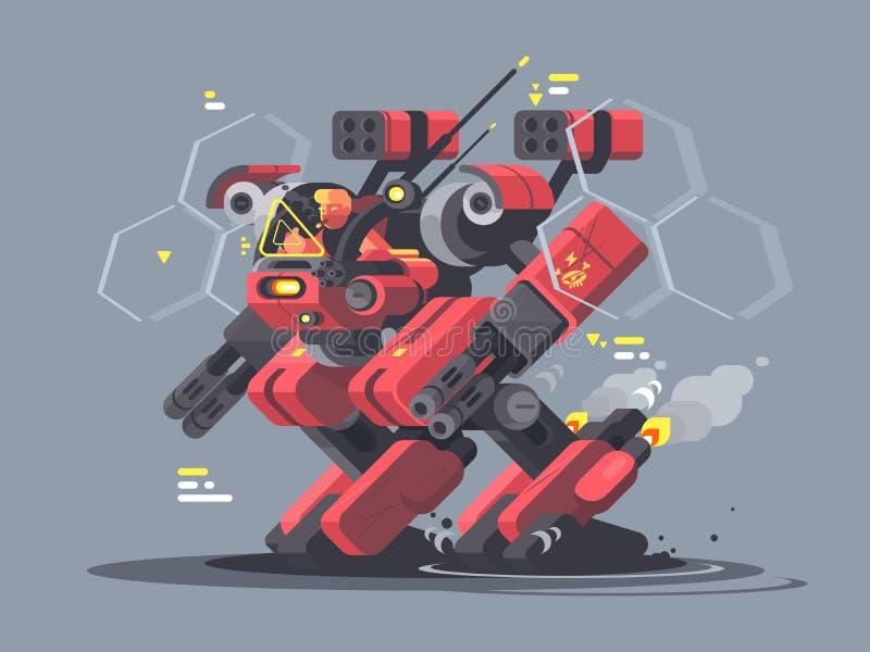 Militär exoskelett för soldat royaltyfri illustrationer