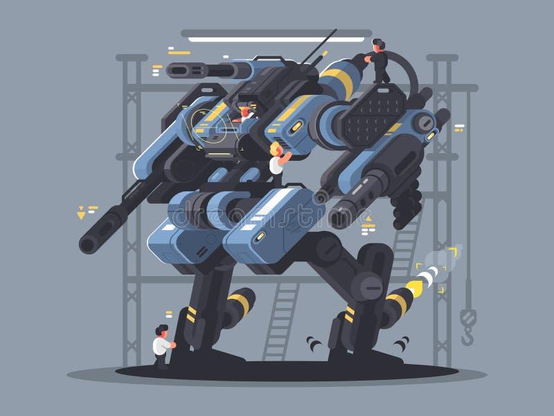 Militär exoskelett som kontrolleras av mannen stock illustrationer