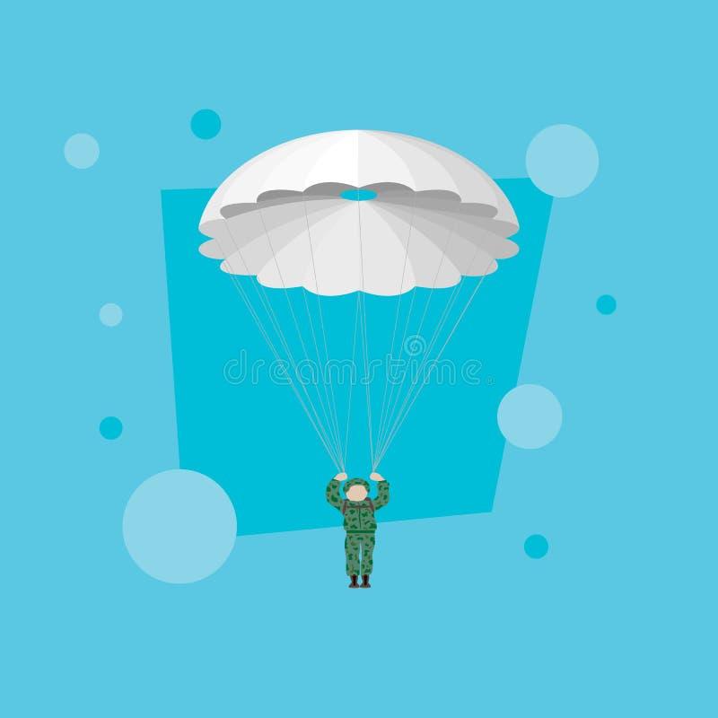 Militär fallskärmsjägare i den blåa himlen fallskärmsjägare vektor illustrationer