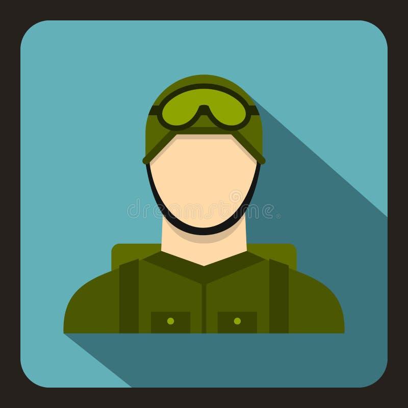 Militär fallskärmsjägaresymbol, lägenhetstil stock illustrationer