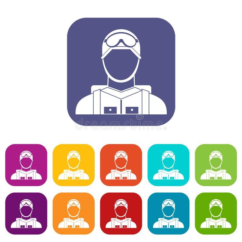 Militär fallskärmsjägaresymbolsuppsättning stock illustrationer