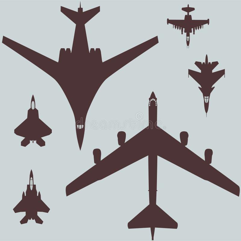 militär flyguppsättning av modellen för kämpeflygplan och för bombplanvektordiagram av flygplan vektor illustrationer