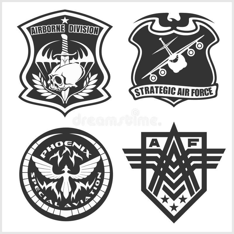 Militär flygvapenlappuppsättning - krigsmakt förser med märke och märker logo vektor illustrationer