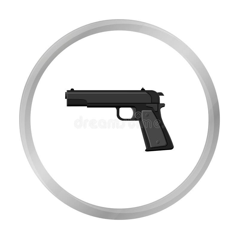 Militär handeldvapensymbol i monokrom stil som isoleras på vit bakgrund Militär och vektor för armésymbolmateriel stock illustrationer