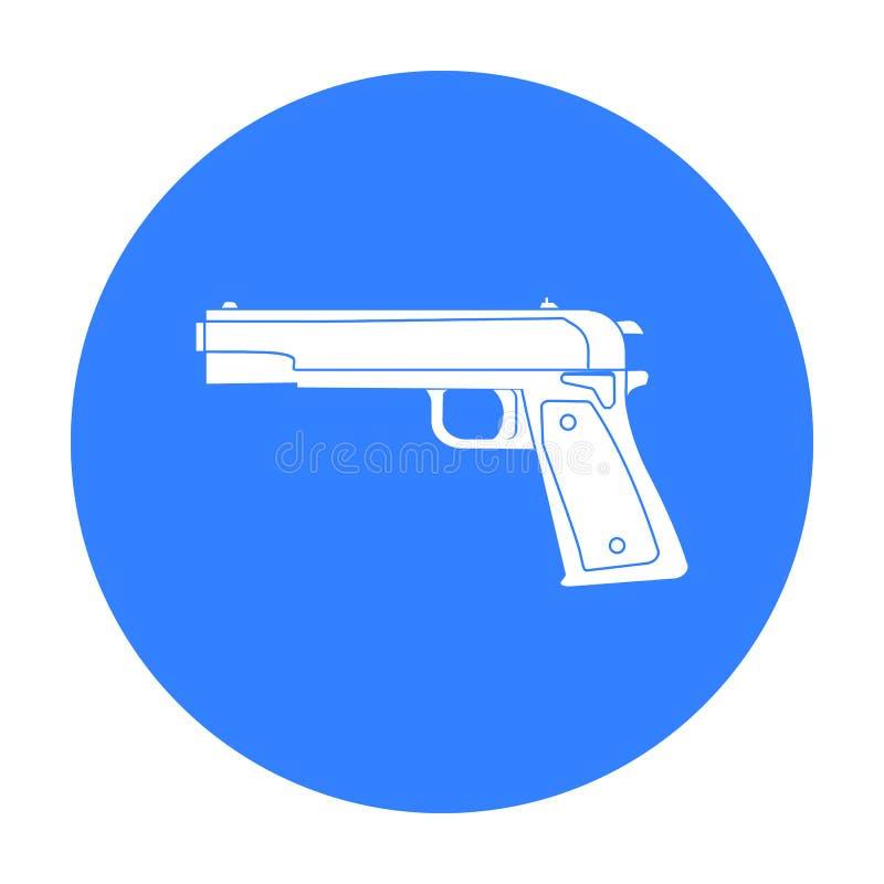 Militär handeldvapensymbol i svart stil som isoleras på vit bakgrund Militär- och för vektor för armésymbolmateriel illustration stock illustrationer