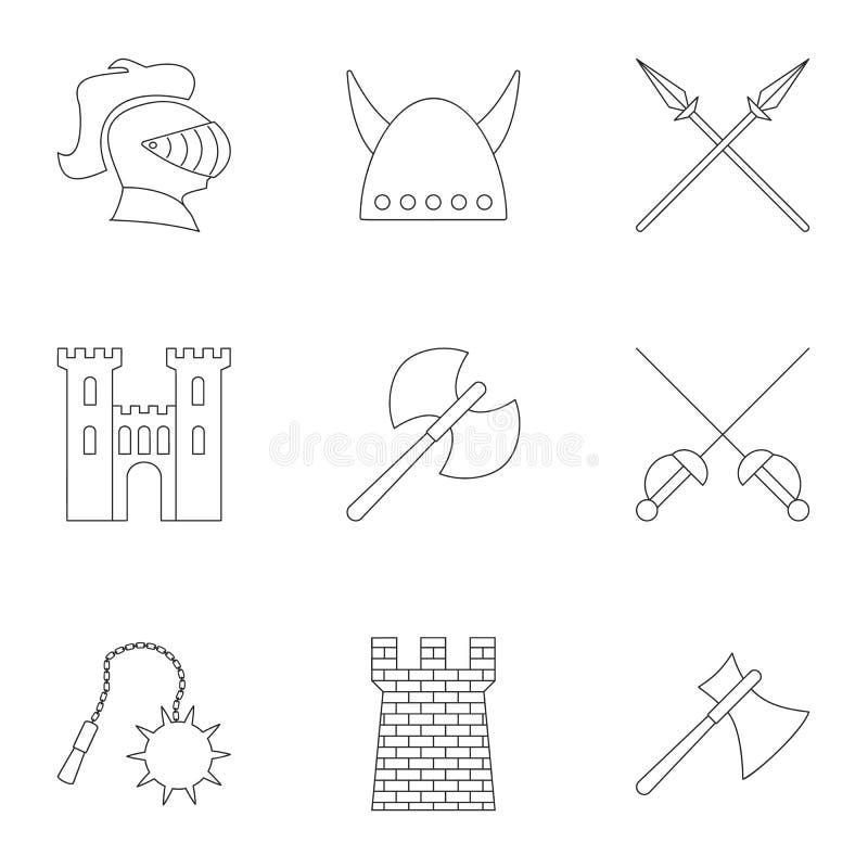 Militär harnesksymbolsuppsättning, översiktsstil royaltyfri illustrationer