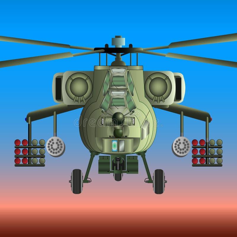 Militär helikopter i himlen royaltyfri illustrationer