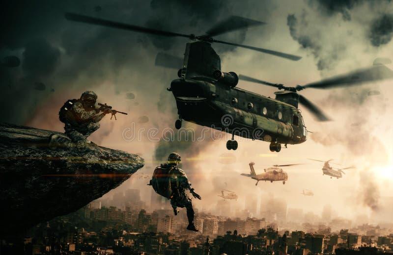 Militär helikopter och styrkor i förstörd stad royaltyfri illustrationer