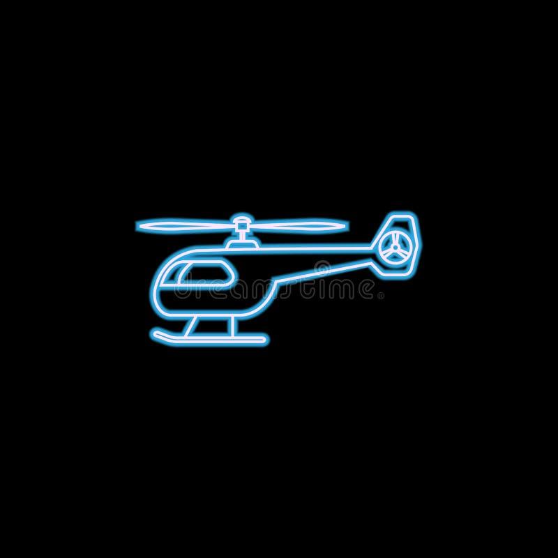 militär helikoptersymbol i neonstil En av den militära samlingssymbolen kan användas för UI, UX vektor illustrationer