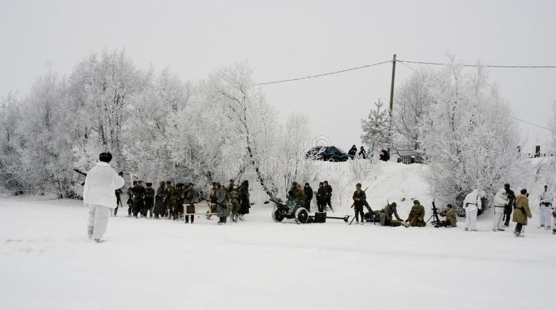 Militär-historische Rekonstruktion 'der Durchbruch der Blockade von Leningrad im Bereich des Nevskaya Dubrovka 'war gehaltenes i lizenzfreie stockbilder