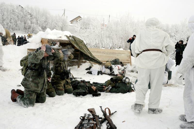Militär-historische Rekonstruktion 'der Durchbruch der Blockade von Leningrad im Bereich des Nevskaya Dubrovka 'war gehaltenes i stockfotografie