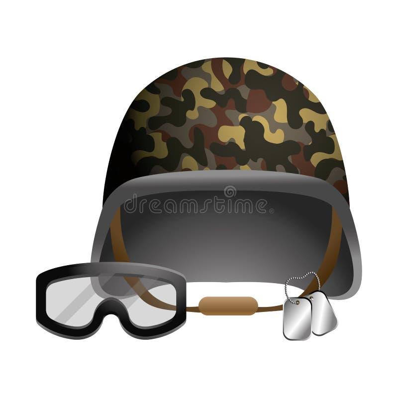 Militär hjälm och att rulla med ögonen och plattor för hundetikett vektor illustrationer