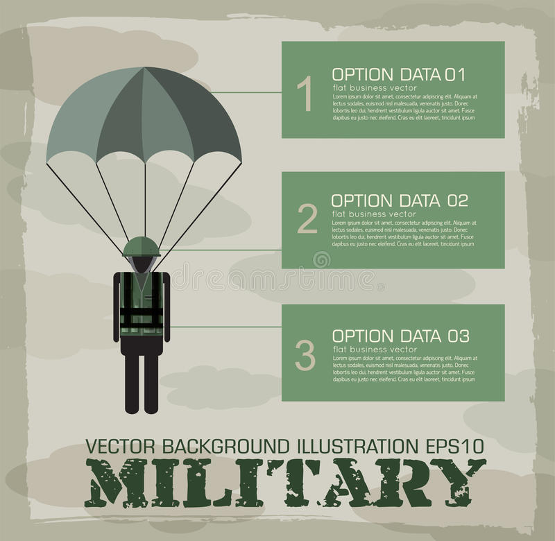 Militär infographicsbakgrund för fallskärmsjägare vektor illustrationer