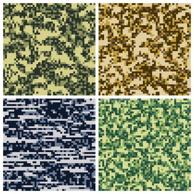 Militär kamouflage, för enhetlig sömlösa modeller tygvektor för armé vektor illustrationer