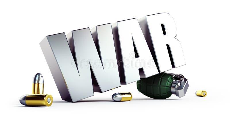 Militär konfrontation för krigtext i världen på en vit illustration för bakgrund 3D, tolkning 3D royaltyfri illustrationer
