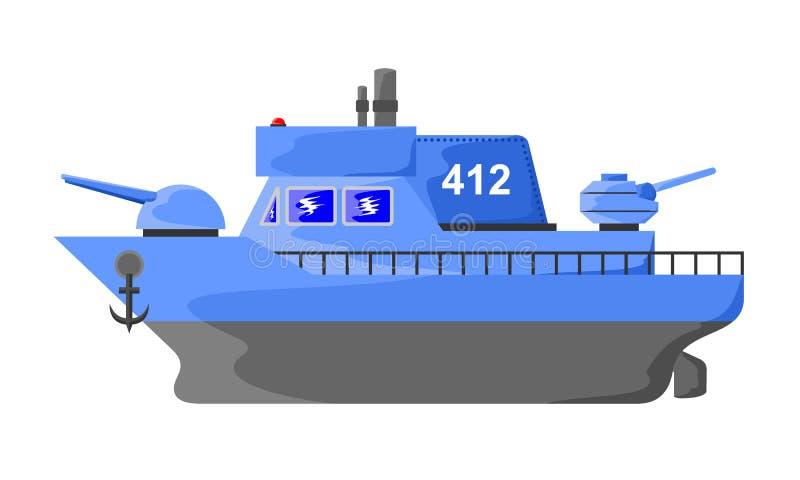 Militär krigsskepp stock illustrationer
