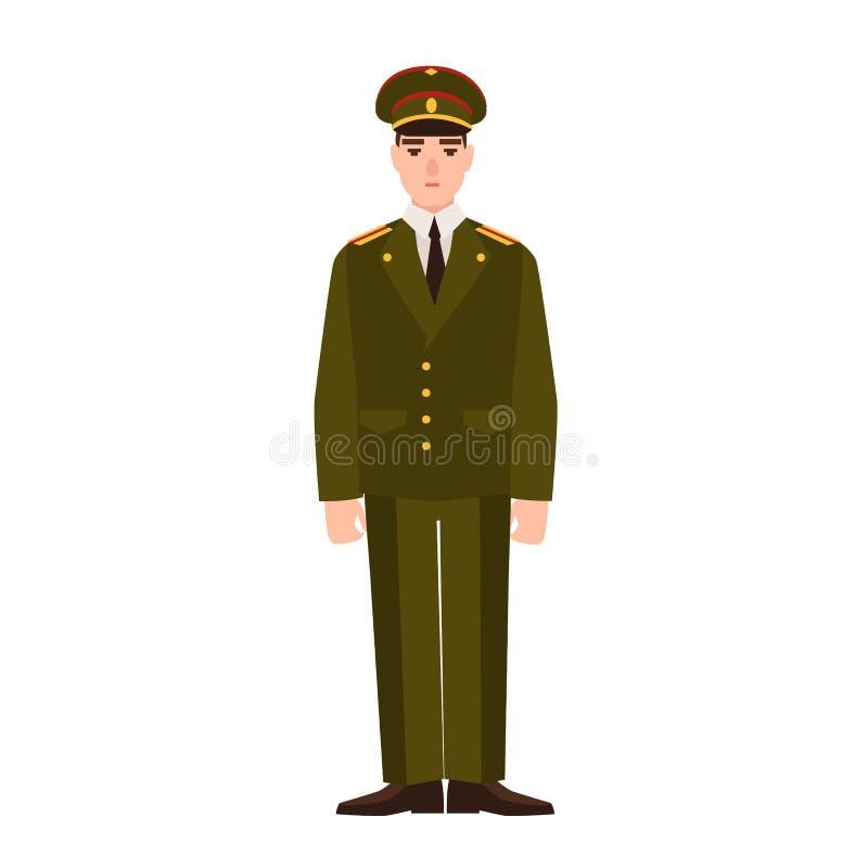 Militär man av den ryska bärande likformign för beväpnad styrka Infanterist eller militär Tjänsteman, sergeant eller löjtnant som stock illustrationer