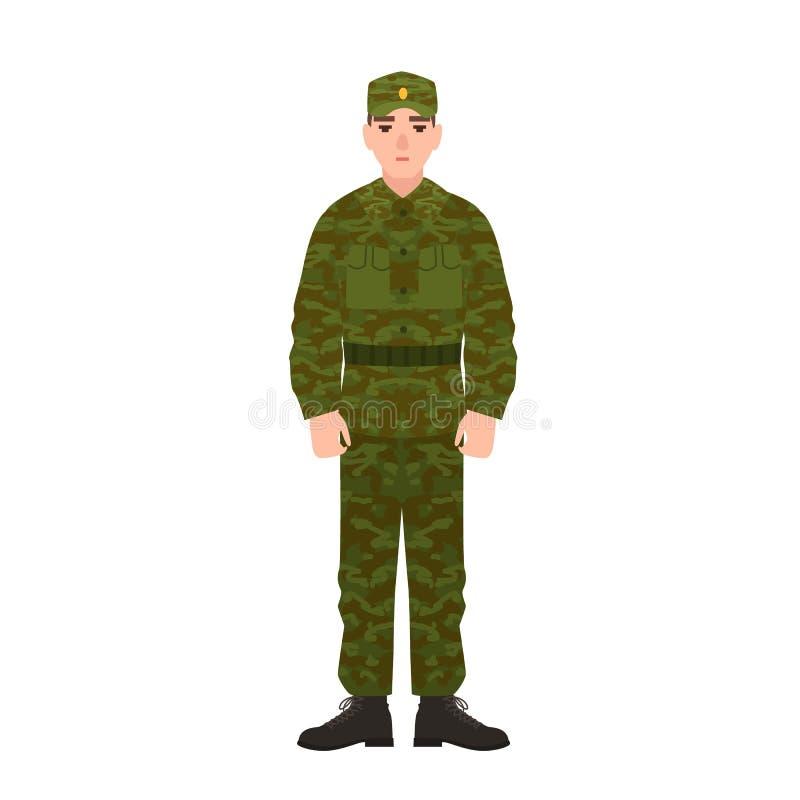 Militär man av den ryska för kamouflagearmé för beväpnad styrka bärande likformign Soldat, värnpliktig eller infanterist som isol vektor illustrationer
