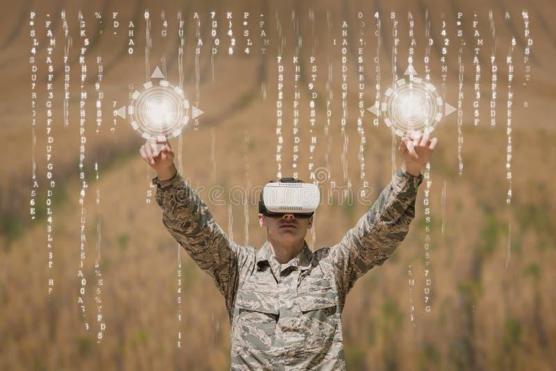 Militär man i VR-hörlurar med mikrofon som trycker på manöverenheter mot fältbakgrund med manöverenheter stock illustrationer