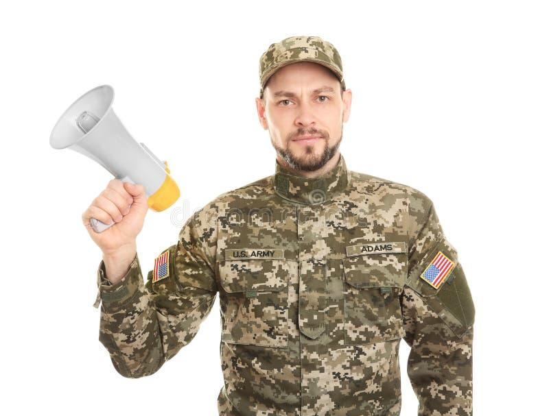 Militär man med megafonen royaltyfria foton