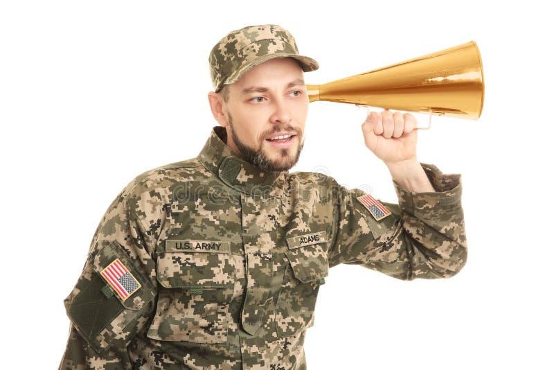 Militär man med megafonen arkivfoton