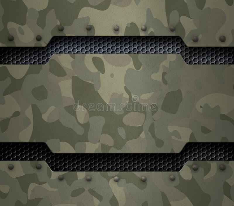 Militär metallbakgrund för Grunge med kamouflage och illustrationen för nitar 3d royaltyfri illustrationer