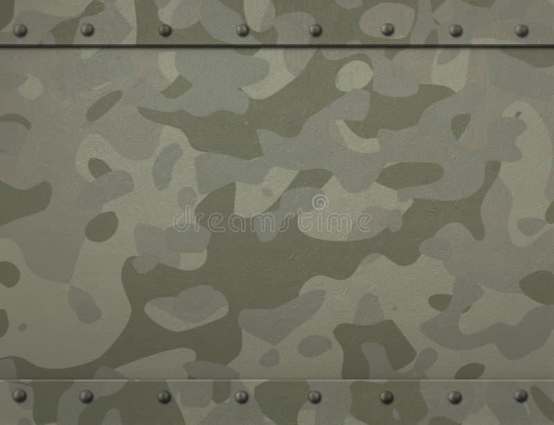 Militär metallharnesk för Grunge med kamouflage och illustrationen för nitar 3d vektor illustrationer