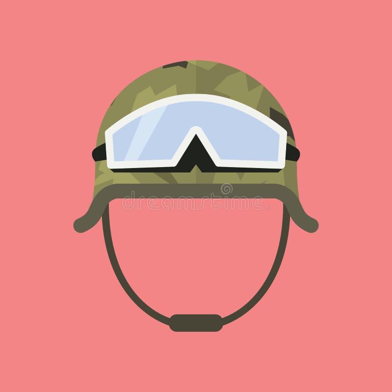 Militär metallhjälm med skyddsglasögon stock illustrationer