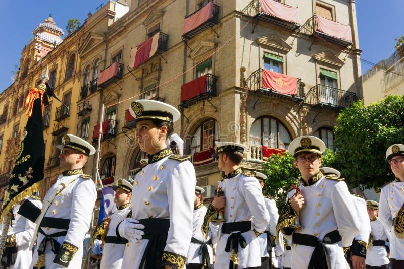 Militär musikband i Seville, Spanien royaltyfri bild