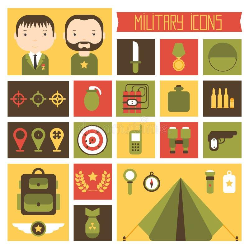 Militär och krigsymbolsuppsättning Infographic armé royaltyfri illustrationer
