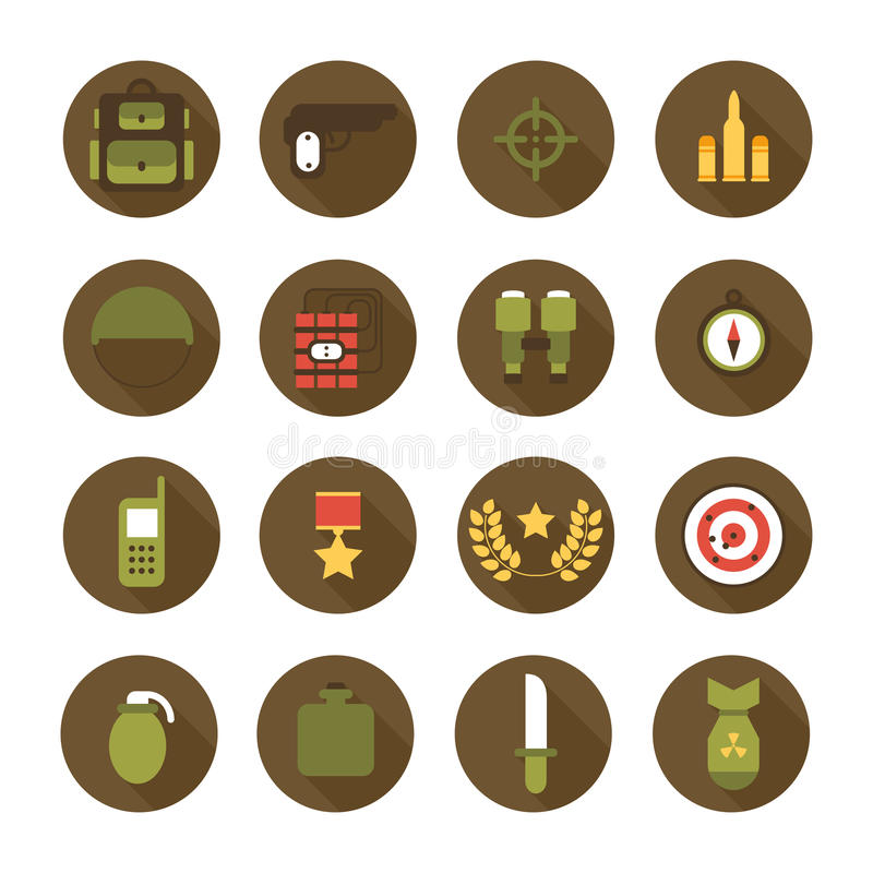Militär och krigsymbolsuppsättning Infographic designbeståndsdelar för armé Illustration i plan stil royaltyfri illustrationer