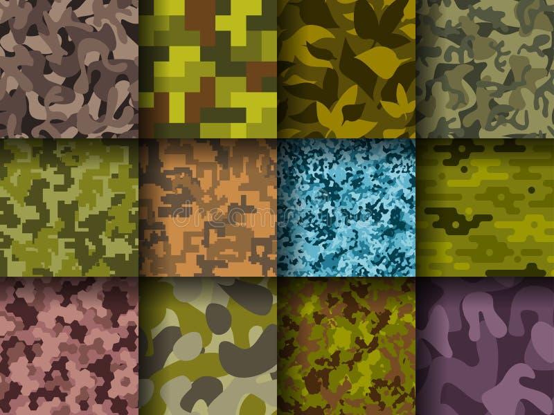Militär- oder Jagdkleidung tarnt Hand gezeichnete nahtlose Musterzusammenfassungsfüllehintergrund-Vektorillustration stock abbildung