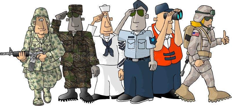militär oss royaltyfri illustrationer